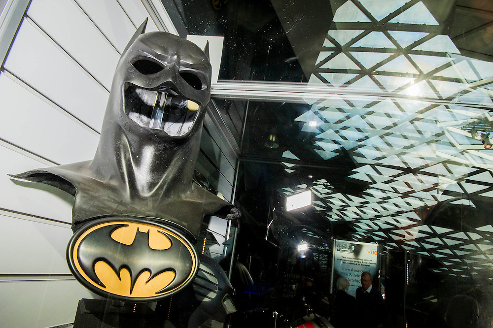 Batman Mask - A collection of contemporary movie props, memorabilia and costumes to be auctioned on 16 October. It will include 375 items collected over 10 years and potentially worth more than £1 million. Highlights include:  Back to the Future: Part II -  Marty McFly's (Michael J. Fox) Mattel Hoverboard (estimated at £14,000 - £18,000); Willy Wonka and the Chocolate Factory - Wonka's (Gene Wilder) Golden Ticket (£15,000 - £20,000); Batman Forever – Remote control Batmobile model miniature (£20,000 - £30,000); Rush - 'Niki Lauda's (Daniel Brϋhl) Prop Ferrari 312T2 Formula One Car (£20,000 - £30,000); memorabiliaStar Wars: Return of the Jedi - Biker Scout helmet (£8,000-£10,000); and The Shining - Jack and Wendy's (Jack Nicholson & Shelly Duvall) Overlook Hotel Bed (£4,000-£6,000).