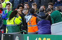 Leeds United's Jack Clarke receives treatment from medical staff on the bench during the second half<br /> <br /> Photographer Alex Dodd/CameraSport<br /> <br /> The EFL Sky Bet Championship - Middlesbrough v Leeds United - Saturday 9th February 2019 - Riverside Stadium - Middlesbrough<br /> <br /> World Copyright © 2019 CameraSport. All rights reserved. 43 Linden Ave. Countesthorpe. Leicester. England. LE8 5PG - Tel: +44 (0) 116 277 4147 - admin@camerasport.com - www.camerasport.com
