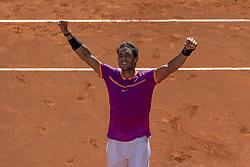 MADRID, May 14, 2017  Rafael Nadal of Spain celebrates after the men's singles semifinal match against Novac Djokovic of Serbia at the Mutua Madrid Open in Madrid, Spain, May 13, 2017. Rafael Nadal 2-0. (Credit Image: © Eduardo Deguez/Xinhua News/Xinhua via ZUMA Wire)