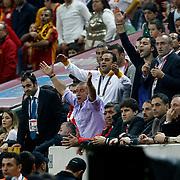 Galatasaray's coach Fatih Terim (C) during their Turkish Superleague soccer match Galatasaray between Mersin Idman Yurdu at the AliSamiYen Spor Kompleksi at Aslantepe in Istanbul Turkey on Saturday 06 April 2013. Photo by Aykut AKICI/TURKPIX