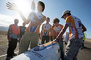 De VeloX2 met Jan Bos wordt klaar gezet voor de start. In de buurt van Battle Mountain, Nevada, strijden van 10 tot en met 15 september 2012 verschillende teams om het wereldrecord fietsen tijdens de World Human Powered Speed Challenge. Het huidige record is 133 km/h.<br /> <br /> The VeloX2 with Jan Bos is being prepared to start. Near Battle Mountain, Nevada, several teams are trying to set a new world record cycling at the World Human Powered Vehicle Speed Challenge from Sept. 10th till Sept. 15th. The current record is 133 km/h.