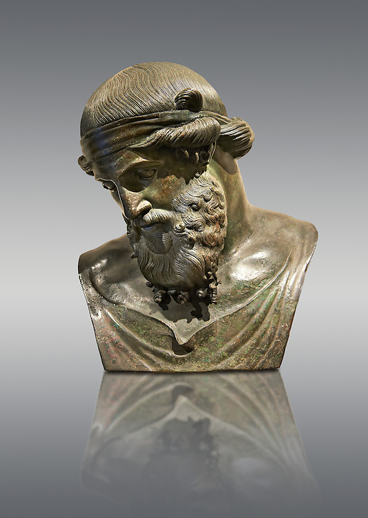 Roman bronze sculpture of Dinoysus - Plato, Naples Museum of Archaeology, Italy.<br /> <br /> If you prefer to buy from our ALAMY STOCK LIBRARY page at https://www.alamy.com/portfolio/paul-williams-funkystock/greco-roman-sculptures.html . Type -    Naples    - into LOWER SEARCH WITHIN GALLERY box - Refine search by adding a subject, place, background colour, etc.<br /> <br /> Visit our ROMAN WORLD PHOTO COLLECTIONS for more photos to download or buy as wall art prints https://funkystock.photoshelter.com/gallery-collection/The-Romans-Art-Artefacts-Antiquities-Historic-Sites-Pictures-Images/C0000r2uLJJo9_s0