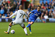 Joe Bennett of Cardiff city (r) in action. EFL Skybet championship match, Cardiff city v Derby County at the Cardiff city stadium in Cardiff, South Wales on Saturday 30th September 2017.<br /> pic by Andrew Orchard, Andrew Orchard sports photography.