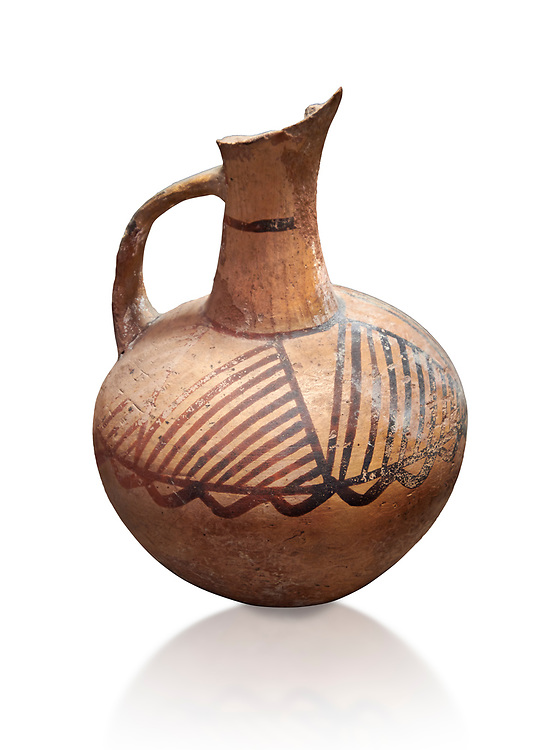 Cycladic ceramic jug with painted linear decoration. Cycladic II (2800-2300 BC) , Chalandriani, Syros. National Archaeological Museum Athens. Cat no 4969.   White background. .<br /> <br /> If you prefer to buy from our ALAMY PHOTO LIBRARY  Collection visit : https://www.alamy.com/portfolio/paul-williams-funkystock/cycladic-art-artefacts.html Type into the LOWER SEARCH WITHIN GALLERY box to refine search by adding background colour, place, museum etc<br /> <br /> Visit our CYCLADIC CIVILISATIONS PHOTO COLLECTIONS for more photos to download or buy as wall art prints https://funkystock.photoshelter.com/gallery-collection/Cycladic-civilisation-Ancient-Greek-Artefacts-art-Photos-Pictures-Images/C0000CmevVvnC.XU