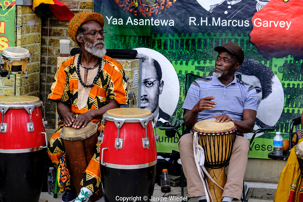 Rastafarians playing Groundation drumming music at annual Reparation Revolution event on Afrikan Emancipation Day in Windrush Square Brixton 2021.