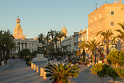View of town hall and town square, Cadiz, Andalusia, Spain