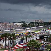 A general view of turn four and bad weather during the 56th Annual NASCAR Coke Zero 400 race at Daytona International Speedway on Sunday, July 6, 2014 in Daytona Beach, Florida.  (AP Photo/Alex Menendez)