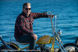 "Big Scott Stopnik with his 1949 HD Panhead ""CYCLE RAY"" at the local docks before the Mooneyes Yokohama Hot Rod & Custom Show. Yokohama, Japan. December 5, 2015.  Photography ©2015 Michael Lichter."