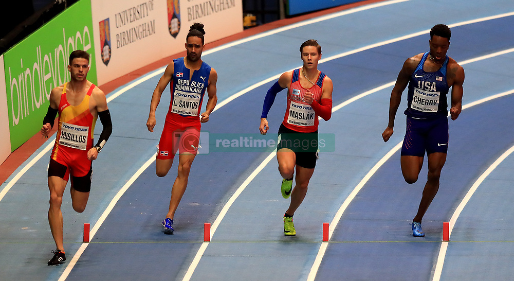 Spain's Oscar Husillos (left), Dominican Republic's Luguelin Santos (second left), Czech Republic's Pavel Maslak (second right) and USA's Michael Cherry (right) during the Men's 400m Final during day three of the 2018 IAAF Indoor World Championships at The Arena Birmingham.