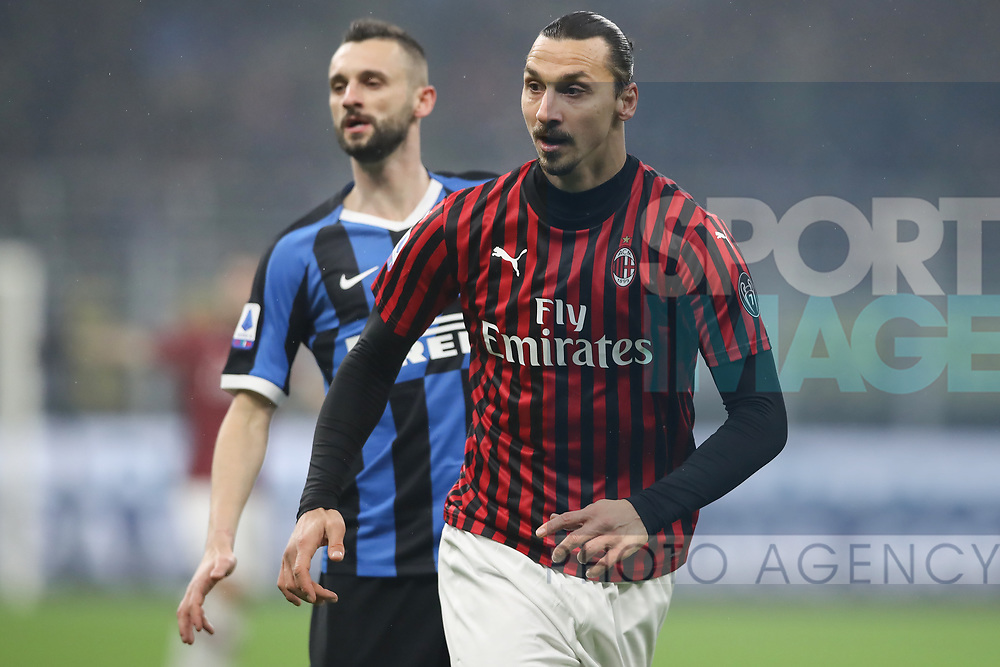 Zlatan Ibrahimovic of AC Milan and Marcelo Brozovic of Inter during the Serie A match at Giuseppe Meazza, Milan. Picture date: 9th February 2020. Picture credit should read: Jonathan Moscrop/Sportimage