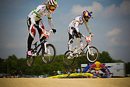 #21 (REYNOLDS Lauren) AUS and #5 (PAJON Mariana) COL at the UCI BMX Supercross World Cup in Papendal, Netherlands.