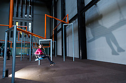 © Licensed to London News Pictures. 02/10/2017. London, UK. Visitors view 'One Two Three Swing!' Copenhagen artist group SUPERFLEX transforms the Tate Modern Turbine Hall for the third Hyundai Commission. Based in Copenhagen SUPERFLEX was founded in 1993 by Danish artists and Bjørnstjerne Christiansen, Jakob Fenger and Rasmus Nielsen. They have gained international recognition for their projects and solo exhibitions around the world. Photo credit: Ray Tang/LNP