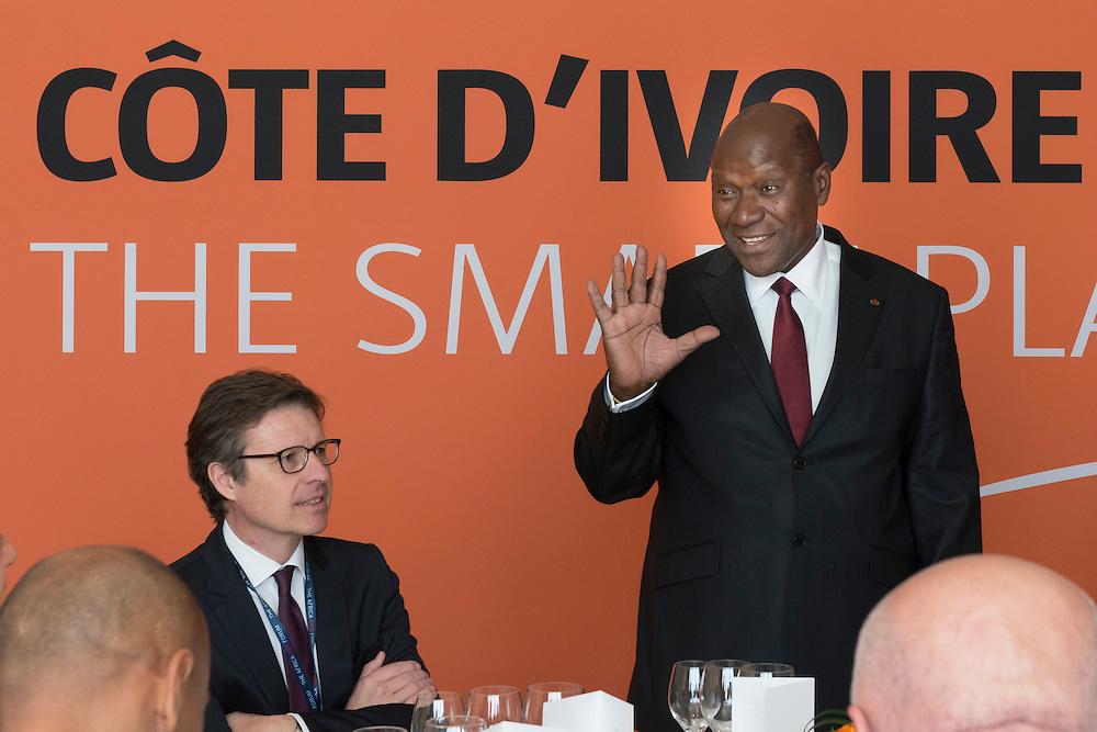 """Daniel Kablan Duncan, Premier ministre de Côte d'Ivoire, lors du panel Développement """"Quelles opportunités pour investir en Côte d'Ivoire?"""", Africa CEO Forum 2015"""