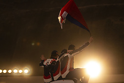 LIMA, Jan. 7, 2019  Members of Tatra Buggyra Racing team wave to the audience during the departure ceremony at the 2019 Dakar Rally Race, Lima, Peru, on Jan. 6, 2019. The 41st edition of Dakar Rally Race kicked off in Lima, Peru. (Credit Image: © Xinhua via ZUMA Wire)