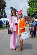 Show stewards, Sophie Baker and Hetty Gittas, dressed in brightly coloured outfits at the annual Suffolk Show on the 29th May 2019 in Ipswich in the United Kingdom. The Suffolk Show is an annual show that takes place in Trinity Park, Ipswich in the English county of Suffolk. It is organised by the Suffolk Agricultural Association.