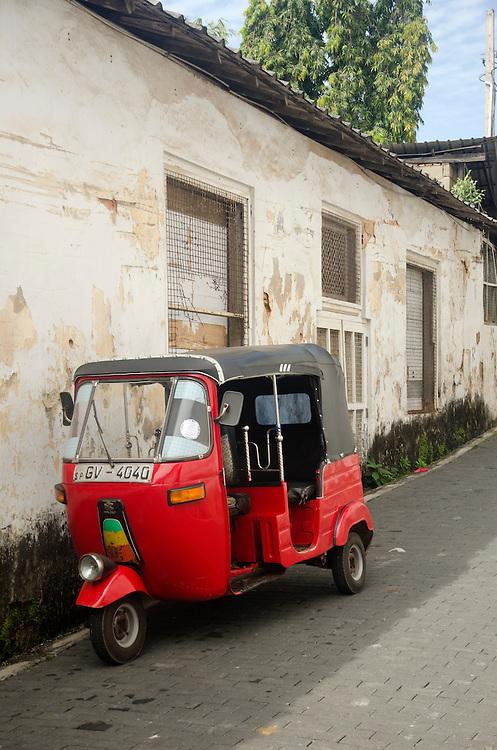 A tuk tuk parked in Galle Fort, Sri Lanka