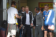 Quique Sanchez Flores, the Watford manager helps Ronald Koeman, the Southampton manager (c) out of the tunnel before k/o. Barclays Premier League, Watford v Southampton at Vicarage Road in London on Sunday 23rd August 2015.<br /> pic by John Patrick Fletcher, Andrew Orchard sports photography.