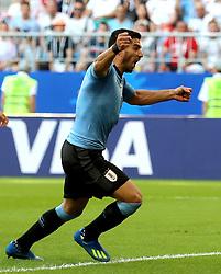 SAMARA, June 25, 2018  Luis Suarez of Uruguay celebrates scoring during the 2018 FIFA World Cup Group A match between Uruguay and Russia in Samara, Russia, June 25, 2018. Uruguay won 3-0. Russia and Uruguay advanced to the round of 16. (Credit Image: © Bai Xueqi/Xinhua via ZUMA Wire)
