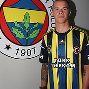 Sweden's Samuel Holmen seen officially signing up with Turkish soccer team Fenerbahce during signing up ceremony at Sukru Saracoglu Stadium in Istanbul. Samuel Holmen three-year contract signed with Fenerbahce after helth chech up in Istanbul. Tuesday, 18.06.2013. Photo by TURKPIX