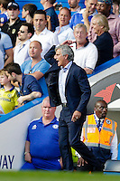 Chelsea manager José Mourinho reacts angrily during the game<br /> <br /> Photographer Craig Mercer/CameraSport<br /> <br /> Football - Barclays Premiership - Chelsea v Swansea City - Saturday 8th August 2015 - Stamford Bridge - London<br /> <br /> © CameraSport - 43 Linden Ave. Countesthorpe. Leicester. England. LE8 5PG - Tel: +44 (0) 116 277 4147 - admin@camerasport.com - www.camerasport.com