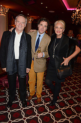 Left to right, LORD ARCHER, SACHA NEWLEY and AMANDA ELIASCH at a party to celebrate the publication of 'Passion for Life' by Joan Collins held at No41 The Westbury Hotel, Mayfair, London on21st October 2013.