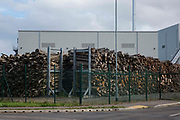 A stack of timber is pictured outside the Kent Renewable Energy Biomass CHP site at Discovery Park on 4th October 2021 in Sandwich, United Kingdom. The biomass-powered combined-heat-and-power CHP plant was opened in October 2018 and is said to be predominantly fuelled from wood supplied by EuroForest from local traditionally-managed coppiced woodlands.