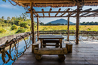 wooden table at terrace Angkor Cambodia