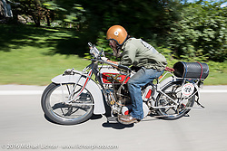 Robert Hernandez of Arizona on the 1916 Excelsior he rebuilt for Jeff Lauritsen during the Motorcycle Cannonball Race of the Century. Stage-4 from Chillicothe, OH to Bloomington, IN. USA. Tuesday September 13, 2016. Photography ©2016 Michael Lichter.