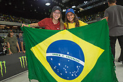 Pamela Rosa 1st with Jhulia Rayssa Mendez Leal 3rd, Brazil, following the women's final of the Street League Skateboarding World Tour Event at Queen Elizabeth Olympic Park on 26th May 2019 in London in the United Kingdom.