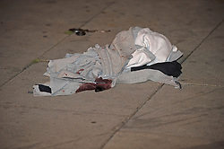 ©Licensed to London News Pictures 07/09/2020  <br /> Streatham, UK. Blooded clothes at the scene. Police cordon off part of Streatham High road in Streatham, South London tonight after a knife attack.  Photo credit: Grant Falvey/LNP