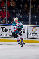 KELOWNA, CANADA - JANUARY 9:  Devin Steffler #4 of the Kelowna Rockets skates with the puck against the Everett Silvertips on January 9, 2019 at Prospera Place in Kelowna, British Columbia, Canada.  (Photo by Marissa Baecker/Shoot the Breeze)