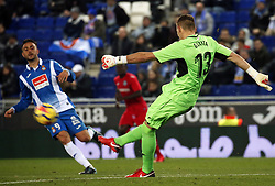 November 27, 2017 - Barcelona, Spain - Sergio Garcia and Guaita during La Liga match between RCD Espanyol v Real Betis Balompie,in Barcelona, on November 27, 2017. Photo: Joan Valls/Urbanandsport/Nurphoto  (Credit Image: © Joan Valls/NurPhoto via ZUMA Press)