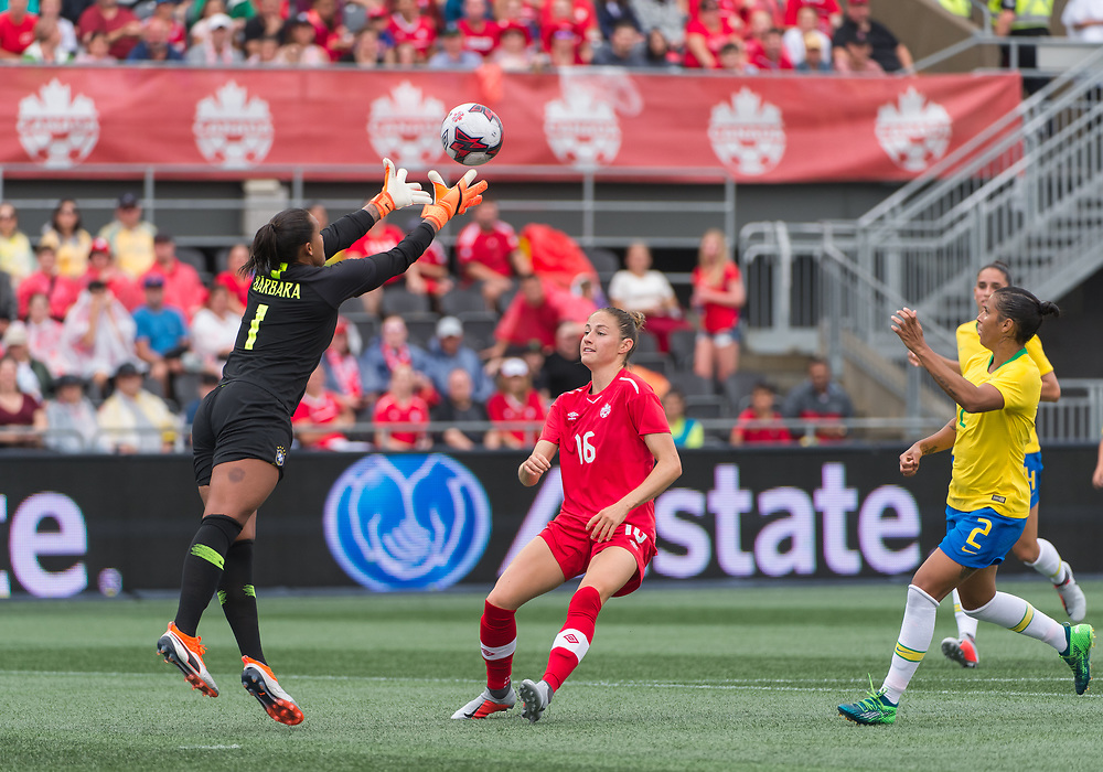 OTTAWA - SEPT 02: Women's International friendly between Canada and Brazil at TD Place Stadium in Ottawa, ON. Canada on September 2, 2018. Nichelle Prince (#15) scored the only goal of the game to give Canada a 1-0 win over Brazil.<br /> <br /> PHOTO: Steve Kingsman for Canada Soccer