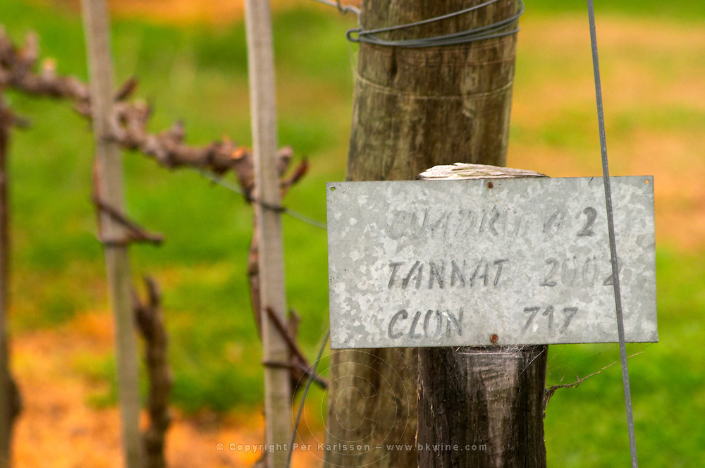 The vineyard with a sign saying that Tannat is planted in 2002 with clone 717 Bodega Bouza Winery, Canelones, Montevideo, Uruguay, South America