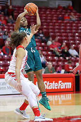 10 December 2017:  Sasha Dailey shoots over Katrina Beck during an College Women's Basketball game between Illinois State University Redbirds and the Eagles of Eastern Michigan at Redbird Arena in Normal Illinois.