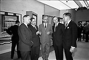 04/06/1964<br /> 06/04/1964<br /> 04 June 1964<br /> Anodising Ltd. Reception for opening of the new factory at Finglas, Dublin. Anodising the electrochemical means of building an aluminium oxide film on aluminium to render the surface harder and abrasion resistant, to increase corrosion resistance, allow the permanent colouring of aluminium and to preserve the appearance.  At the reception hosted by the German-Irish firm were: (l-r) Mr O.M. Greer, Chairman; Mr C.J. Cooper, Director, Smith and Parsons; Mr Werner Wetzki, Managing Director; Mr B.D. Gillespie, Director and Mr Don MacGreery, Managing Director, Building Centre of Ireland.
