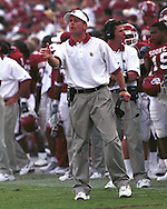 Oklahoma head coach Bob Stoops during game action against Alabama at Memorial Stadium in Norman, Oklahoma in 2002.