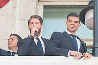 Real Madrid's James Rodriguez, Sergio Ramos and Pepe on the balcony of the Seat of government greeting the fans in Madrid, May 22, 2017. Spain.<br /> (ALTERPHOTOS/BorjaB.Hojas)