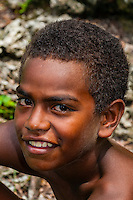 Kanak (Melanesian) boy, Natural Aquarium, Island of Mare, Loyalty Islands, New Caledonia