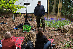 Wendover, UK. 9th May, 2021. Environmental activist Mark Keir addresses local residents and fellow activists opposed to HS2 at an event in Jones Hill Wood billed as an 'Accolade To The Ancients' in tribute to the ancient woodland there which is being felled for the high-speed rail link. The event featured a reading of an adaptation of Roald Dahl's Fantastic Mr Fox, which it is said he was inspired to write by Jones Hill Wood, as well as poems, speeches and face painting.