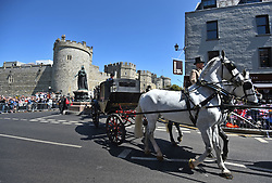 A parade rehearsal in Windsor, Berkshire ahead of the wedding of Prince Harry and Meghan Markle this weekend.