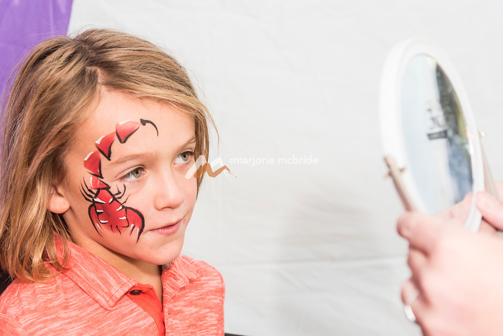 Child with face paint looking with delight in the mirror at Thousand Springs Art Festival at Ritter Island near Hagerman, Idaho. MR
