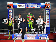 PATTAYA, THAILAND - DECEMBER 09: Top 4 athletes on the podium: Mark Gomez of USA and Rickter, Taiji Yamamoto of Japan and Bun Freestyle, Kazuaki Sakaida of Japan and Bun Freestyle, and Tanner Thomas of USA and Rickter after the Pro Freestyle second run at the Thai Airways International Jet Ski World Cup 2018, Jomtien Beach, Pattaya, Thailand on December 09, 2018. <br /> .<br /> .<br /> .<br /> (Photo by: Naratip Golf Srisupab/SEALs Sports Images)<br /> .<br /> Any image use must include a mandatory credit line adjacent to the content which should read: Naratip Golf Srisupab/SEALs Sports Images