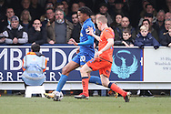 AFC Wimbledon defender Toby Sibbick (20) dribbling down the wing during the The FA Cup 5th round match between AFC Wimbledon and Millwall at the Cherry Red Records Stadium, Kingston, England on 16 February 2019.