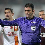 Referee's Yunus Yildirim during their Turkish superleague soccer derby match Trabzonspor between Galatasaray at the Avni Aker Stadium in Trabzon Turkey on Sunday, 23 December 2012. Photo by TURKPIX