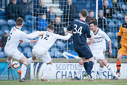 Raith Rovers Dougie Hill (5) scores an own goal for Falkirk's goal.<br /> Half time : Raith Rovers 2 v 1 Falkirk, Scottish Championship game today at Starks Park.<br /> © Michael Schofield.