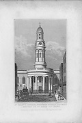 St Mary's church,Wyndham Place, engraving 'Metropolitan Improvements, or London in the Nineteenth Century' London, England, UK 1828