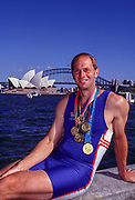 Sydney Summer Olympics, 2000,Sydney Harbour Side, AUSTRALIA, 01/10/2000 -  Sunday Morning, Looking across, Cockle Shell Bay, towards the, Sydney Opera House, Sydney Harbour Bridge, Steven Redgrave, with his, five Olympic Gold Medals, Mobile 44 (0) 973 819 551<br /> [Mandatory Credit Peter Spurrier/ Intersport Images]