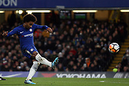 Willian of Chelsea takes a shot at goal. The Emirates FA Cup, 3rd round replay match, Chelsea v Norwich City at Stamford Bridge in London on Wednesday 17th January 2018.<br /> pic by Steffan Bowen, Andrew Orchard sports photography.