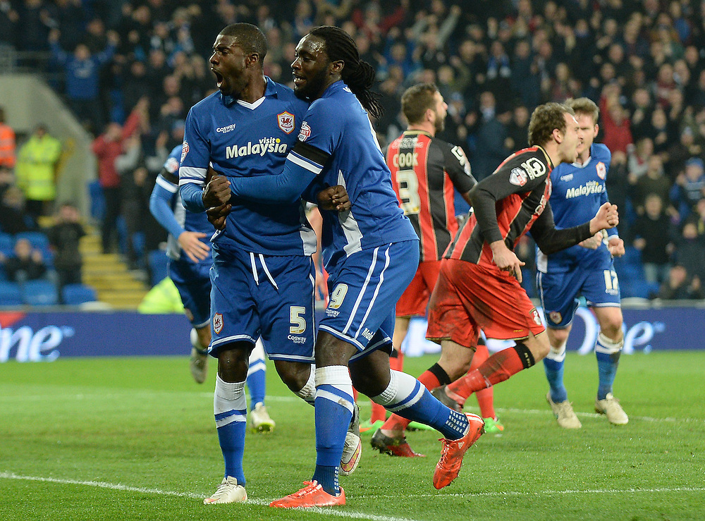 Cardiff City's Bruno Ecuele Manga celebrates scoring his sides equalising goal to make the score 1-1<br /> <br /> Photographer Ian Cook/CameraSport<br /> <br /> Football - The Football League Sky Bet Championship - Cardiff v Bournemouth - Tuesday 17th March 2015 - Cardiff City Stadium - Cardiff<br /> <br /> © CameraSport - 43 Linden Ave. Countesthorpe. Leicester. England. LE8 5PG - Tel: +44 (0) 116 277 4147 - admin@camerasport.com - www.camerasport.com